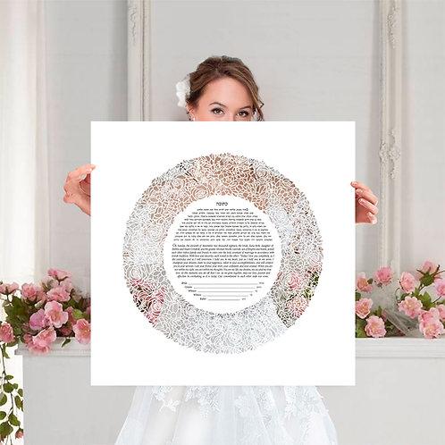 Floral Modern Paper cut ketubah