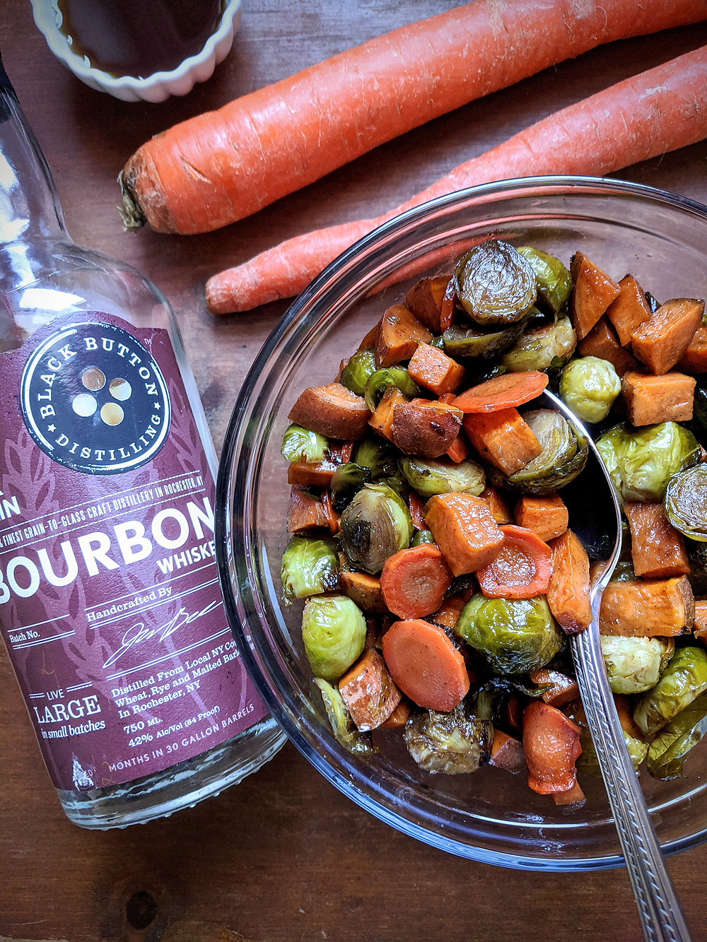 Maple Bourbon Roasted Sweet Potatoes, Brussels Sprouts, and Carrots