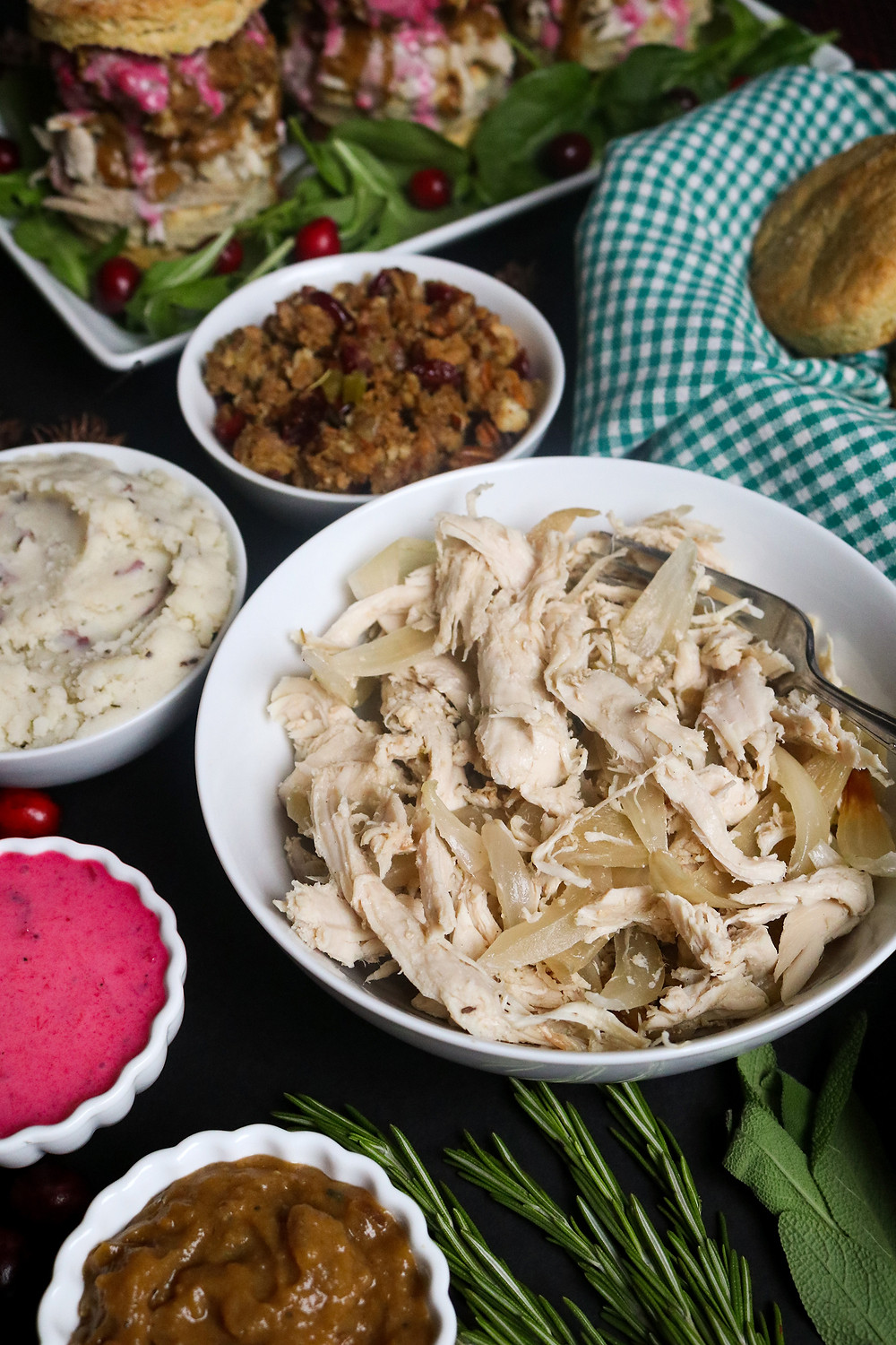 Rosemary and Sage Slow-Cooker Pulled Turkey for Gobbler Bomb