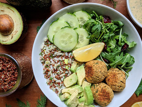Greens & Grains Bowl with Spicy Baked Falafel