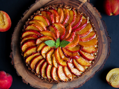 Molasses Roasted Peach & Lemon Ricotta Cheesecake Tart