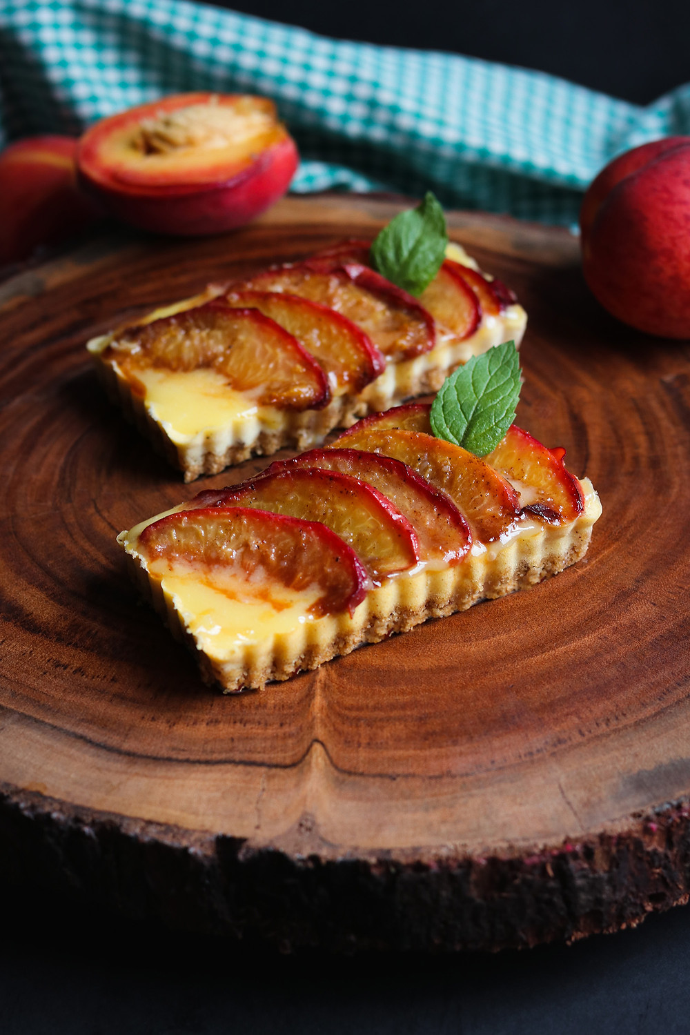 Molasses Roasted Peach and Lemon Ricotta Cheesecake Tart with Lemon Curd and Ginger Snap and Toasted Pecan Crust