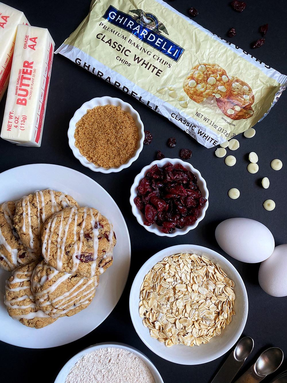 Iced Brown Butter Oatmeal Cranberry Cookies