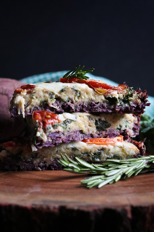 "Truffle ""Mac"" n' Cheese with Truffle Purple Sweet Potato Crust and Sliced Tomatoes"
