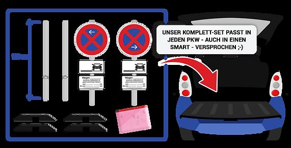 Halteverbotsschilder zum Transport in jedem PKW