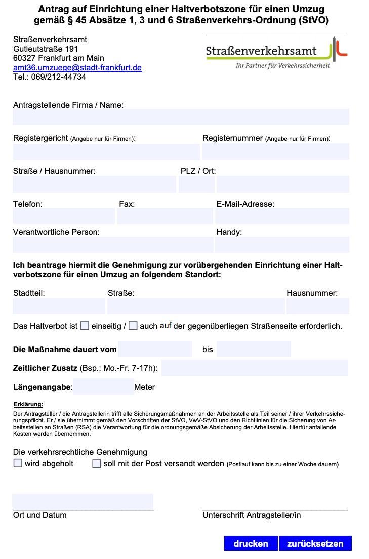 Formular zur Beantragung Halteverbot bei der Stadt Frankfurt