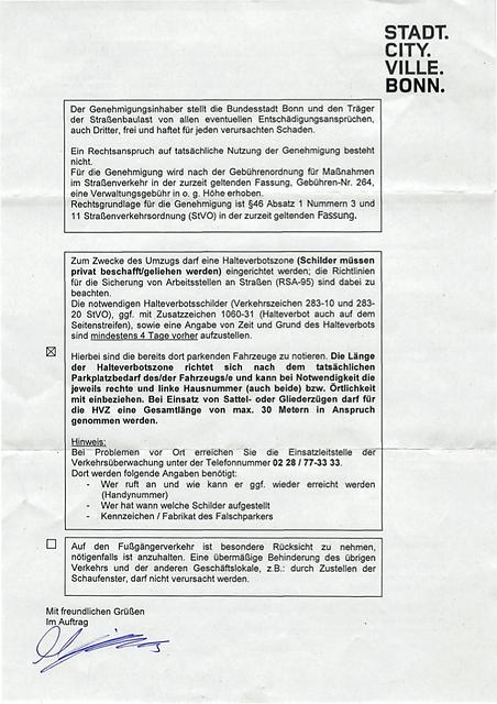 Ausnahmegenehmigung Bonn Halteverbot Beispiel II