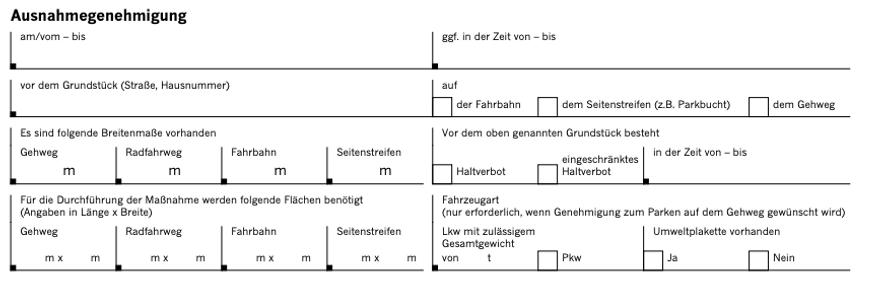 Ausnahmegenehmigung Düsseldorf Halteverbot