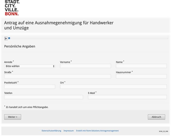 Halteverbot in Bonn beantragen