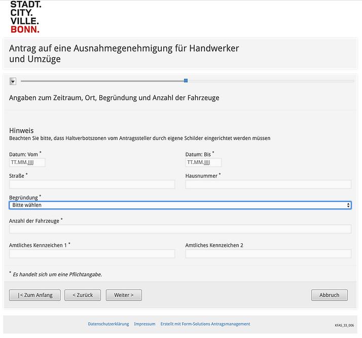 Ausnahmegenehmigung Halteverbot Bonn