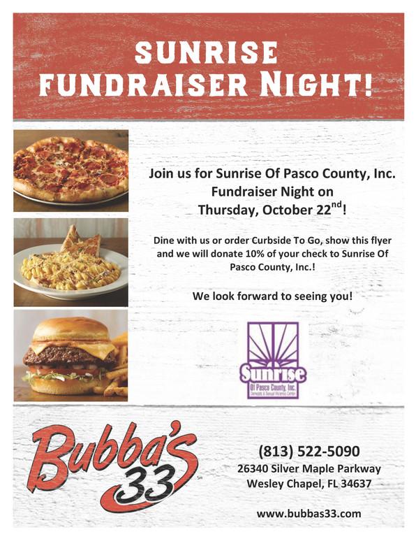 Bubba's 33 restaurant in Wesley Chapel is hosting Sunrise Fundraiser Night!