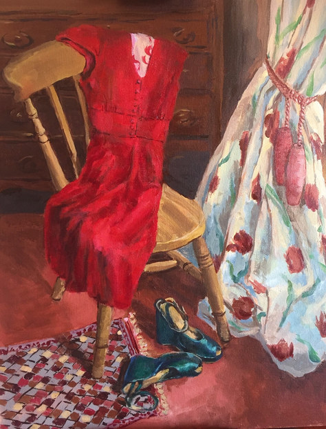 """The Red Dress"" Oil 22""x18"" £95"