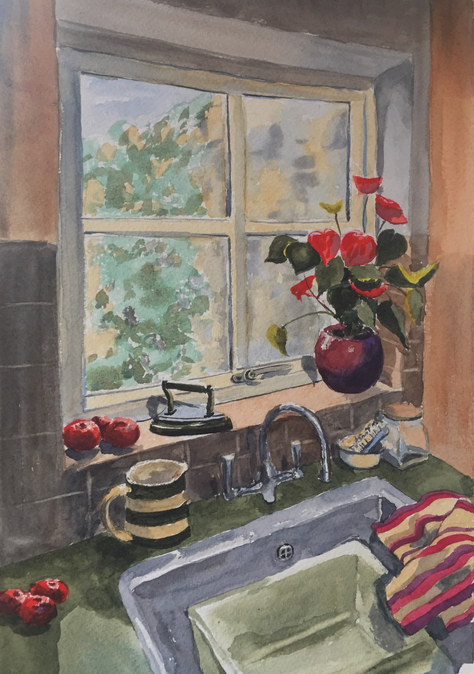"""""""The Kitchen Sink"""" Watercolour 17""""x14"""" SOLD"""