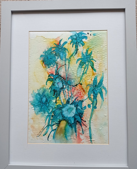 """Floral Bouquet"" Alcohol Ink 13""x17"" £50"