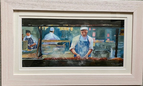 """Chefs (after Liz Yule) - Watercolour - 21""""x13"""" - SOLD"""