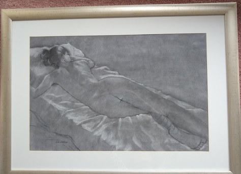 """Reclining Nude - Charcoal - 30""""x22"""" - £200"""