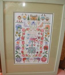 """Peacock"" Sampler 11""x14.5"" Sampler 12.5""x12.5"" silk, linen, cotton £105"