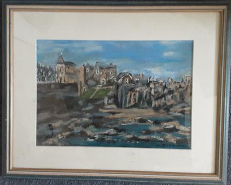 """""""Castle Beach"""" Oil & Pastel 16""""x13"""" £45"""