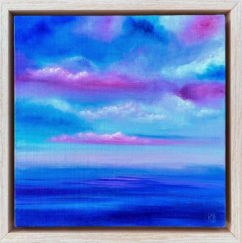 """Pink Dusk, W. Coast, Scotland"" Oil 23x23cm £40"