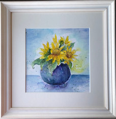 """""""Sunflowers"""" Watercolour and Pen 39cmX40cm SOLD"""