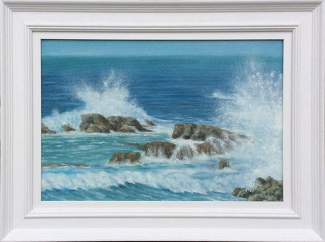 """""""Surf and Spray"""" 23""""x17"""" Oil SOLD"""