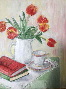"""""""Still life with tulips"""" (after A. Redpath) Oil 14""""X18"""" £110"""