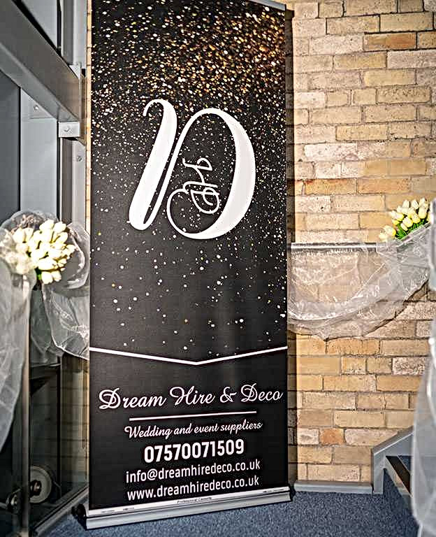 Dream Hire & Deco banner post on Pinterest wedding board