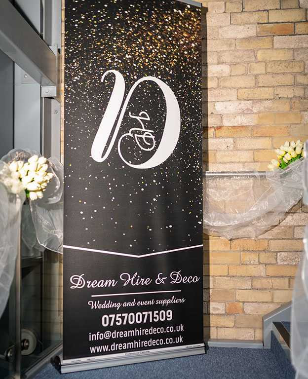 Dream Hire & Deco banner post on Pinterest wedding board
