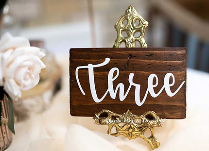 Wooden block table number
