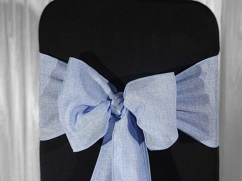 blue sash for your chair covers and venue stylist