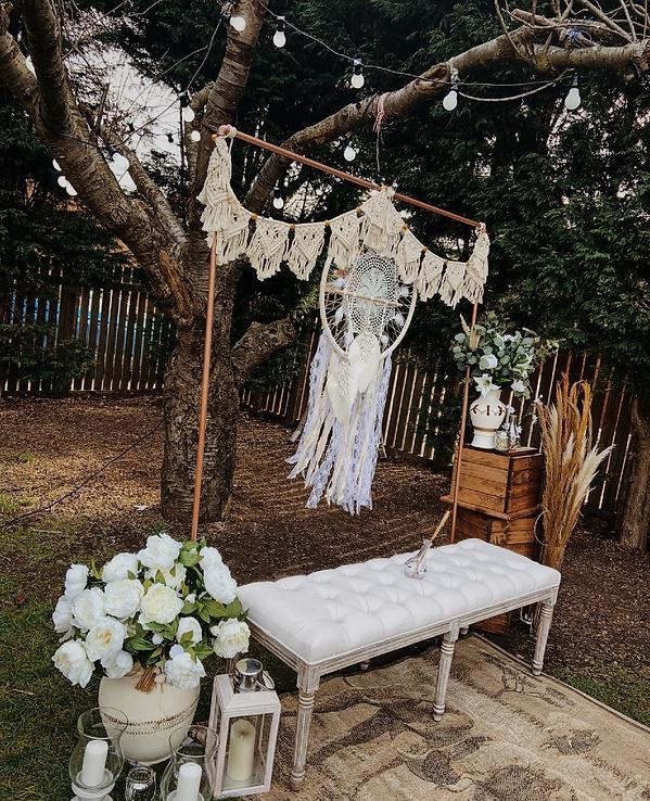Boho backdrops system for wedding stage