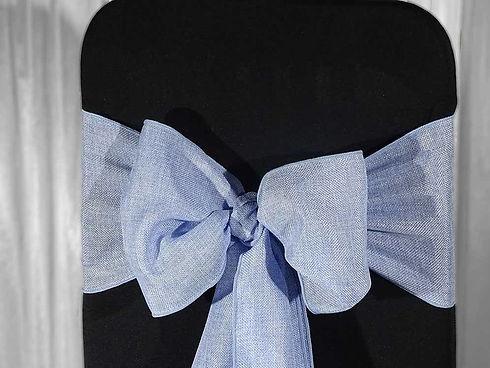 Blue linen sash in venue stylist decor