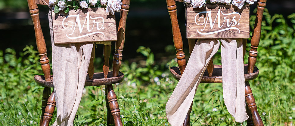 M & Mrs  Wedding Chair Signs