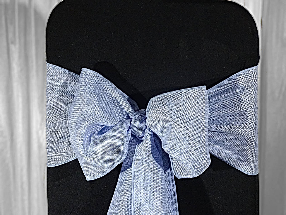 blue sashes bow for your wedding venue stylist