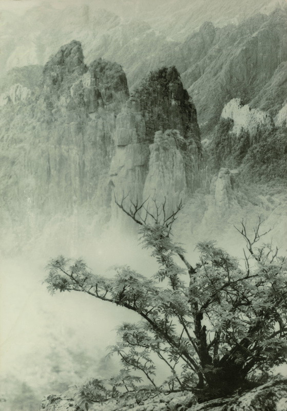 """""""Majestic Solitude"""" (1934), by Lang Jingshan. This image was created in the early, thriving years of composite photography, where the edges of two negatives came together to create a productive -- and stunning -- space"""