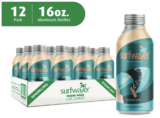 Surfwater SPARKLIN  (12 x 16oz Bottles)   GET  $5.-  off  on orders of  5+ cases