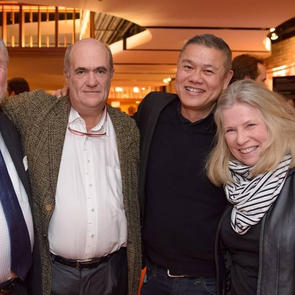 Opening night of THE TESTAMENT OF MARY with playwright / author Colm Toibin, Victory Gardens artistic director emeritus Dennis Zacek and Marcelle McVay