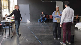 In rehearsals with HILLARY AND CLINTON with CHeryl Lynn Bruce, Juan Villa and John Apicella