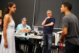 In rehearsals with Luis Alfaro's MOJADA at the Public with Sabina Zuniga Varela and Alex Hernandez