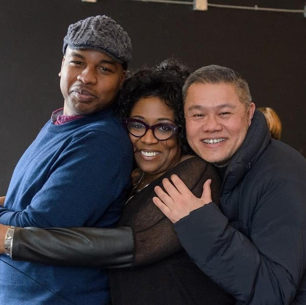 During a rehearsal break with Marcus Gardley and E Faye Butler at Victory Gardens