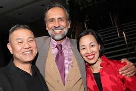 With actors Bernie White and Lia Chang at the Steingberg Awards