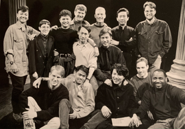 Company photo of A LANGUAGE OF THEIR OWN at the Public with David Drake, Francis Jue, Alec Mapa, B.D. Wong, and director Ong Keng Sen, and stage managers Buzz Cohen and Rick Steiger