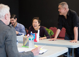 in rehearsals with DEATH AND THE MAIDEN with Raul Castillo, John Judd and Sandra Oh, at Victory Gardens