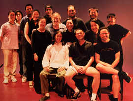 Company photo of RED at East West Players with Emily Kuroda, Paige Leong, Jeanne Sakata, artistic director Tim Dang, composer Nathan Wang and lighting designer Jose Lopez