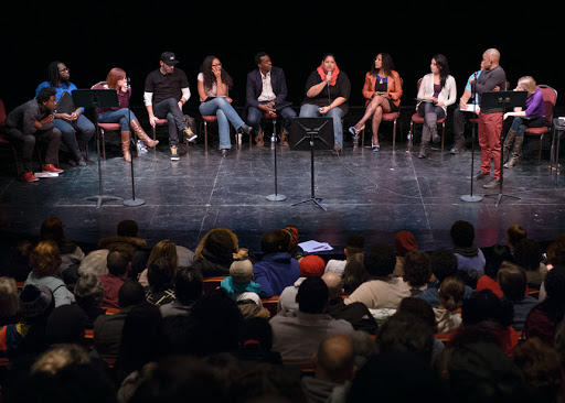A panel at VIctory Gardens' Town Hall: WE MUST BREATHE.