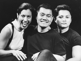 Publicity still for TWO AT THE TOO at Center Theatre Group (with Sandra Tsing Loh and Alec Mapa)