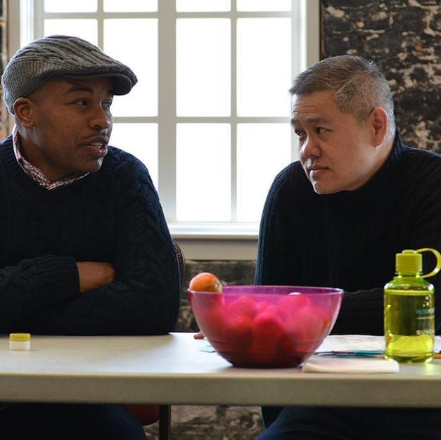 In rehearsals with Marcus Gardley at Victory Gardens