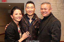 Opening night of CAMBODIAN ROCK BAND at Signature Theatre Company with friends and old collaborators,Tamlyn Tomita (who was in The Square, A Distant Shore and Question 27, Question 28) and Daniel Dae Kim (Golden Child)