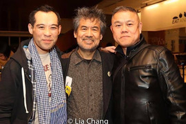 With playwright David Henry Hwang and Joseph Ngo after a preview of CAMBODIAN ROCK BAND at Signature Theatre