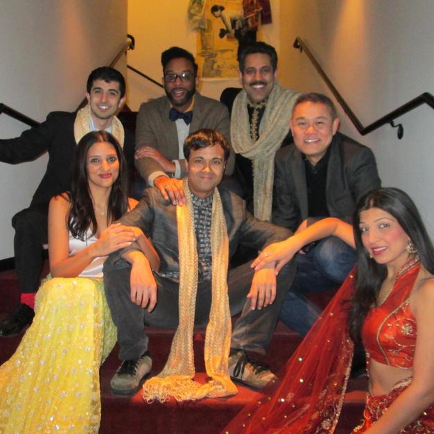 The company of DISCONNECT - Kamal Joseph Hans, Bezhad Dabu, Minita Ghandi, Arya Daire, and Debargo Sanyal on opening night at Victory Gardens